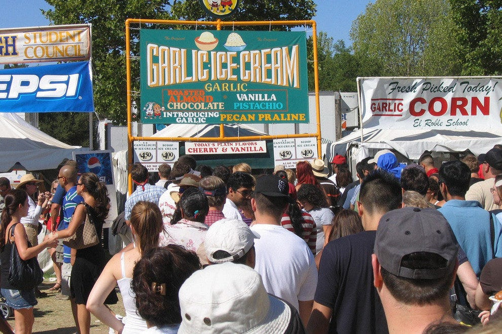 Sample garlic ice cream at the Gilroy Garlic Festival