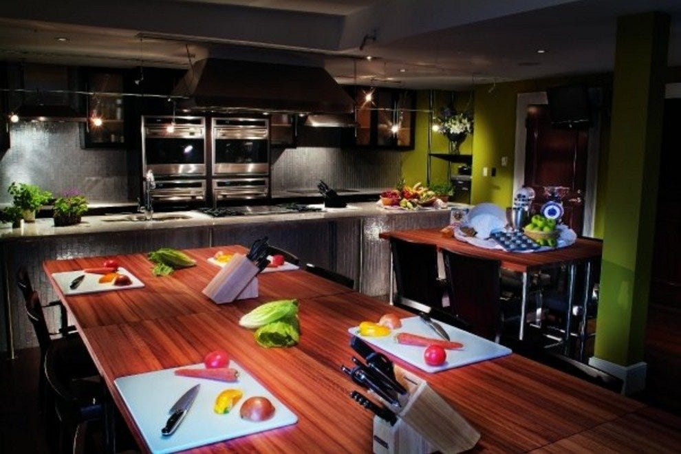 Classes at the Mansion's 700 Kitchen Cooking School take place inside a full-size kitchen.