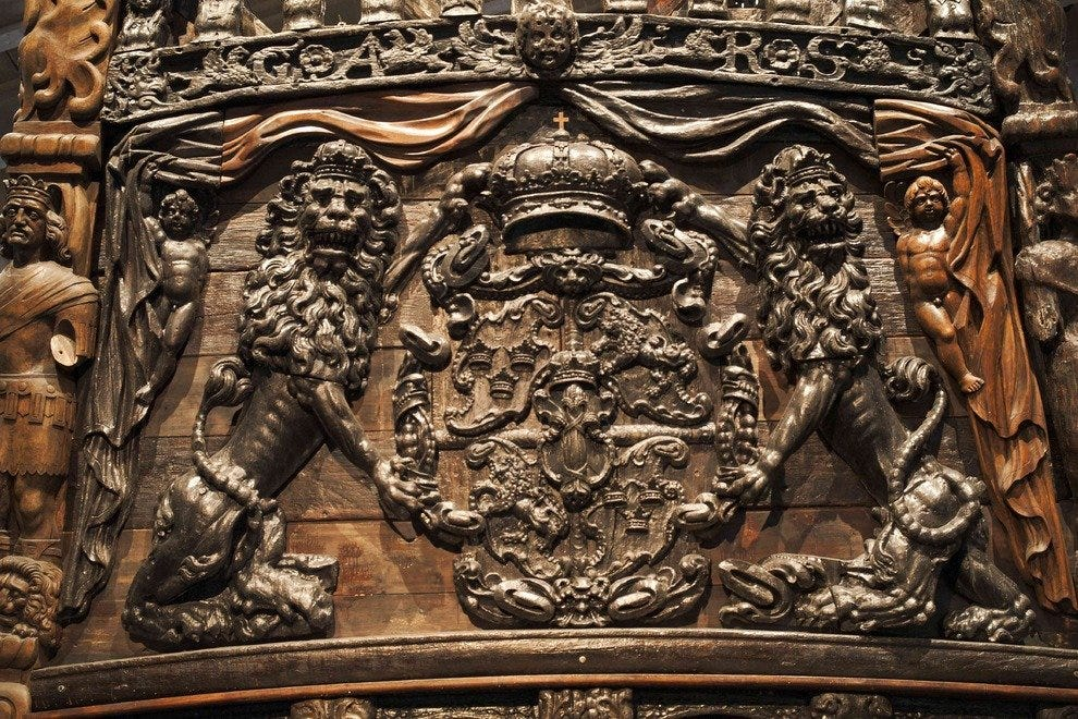 Warship Vasa features extremely delicate Medieval carvings