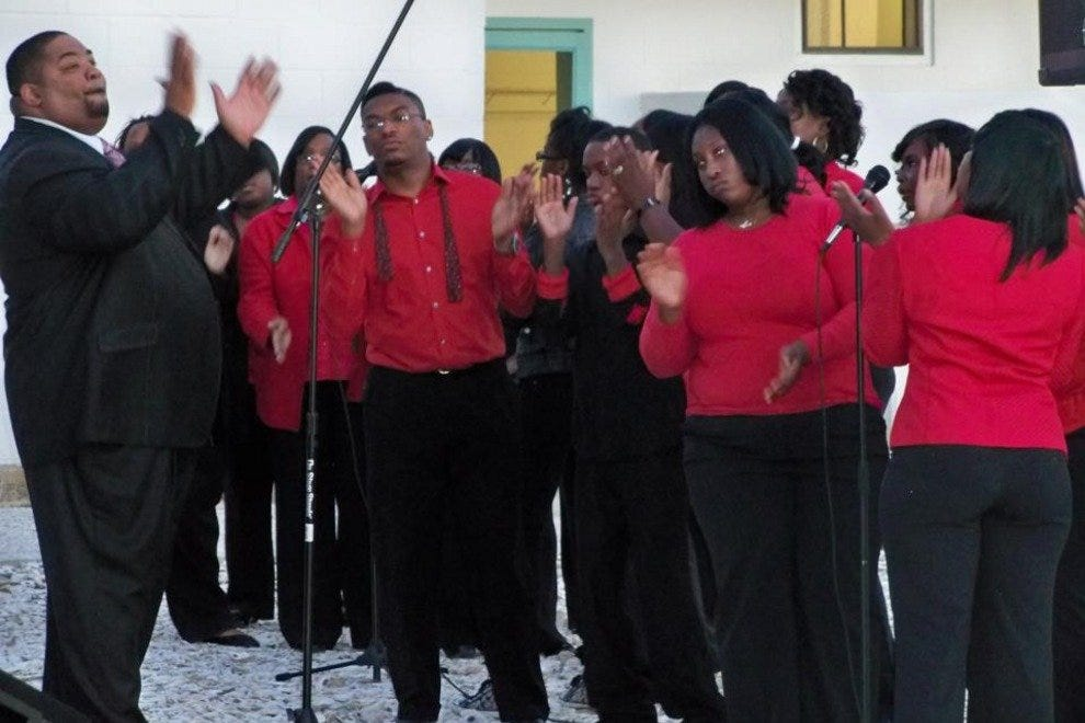 The Sweetfield of Eden Baptist Church choir makes an appearance at the Pin Point Heritage Museum. The church is located in the small Gullah community of Pin Point.