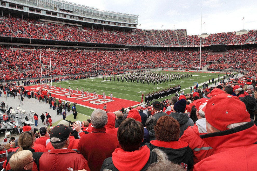The Ohio State University marching band takes the field