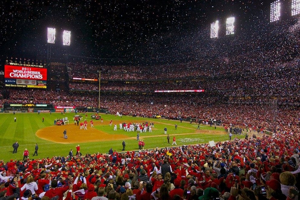 Busch Stadium erupting after Cardinals' 2013 World Series win