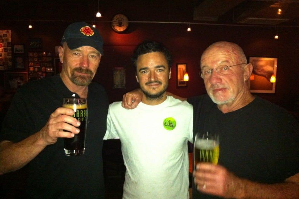 Bryan Cranston and Jonathan Banks visit Marble Brewery.