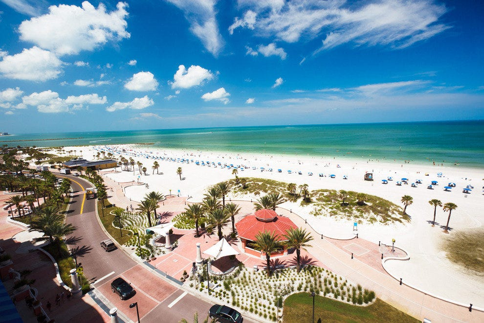 A tempting arial view of Clearwater Beach and the Beachwalk