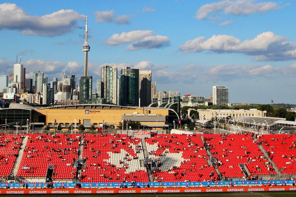 Toronto's skyline behind BMO Field before a game