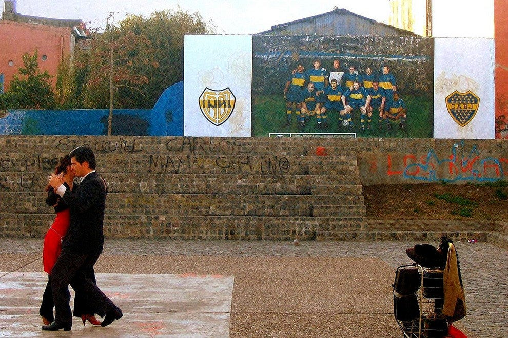 Tango dancers in La Boca, the neighborhood of the Boca Juniors team.