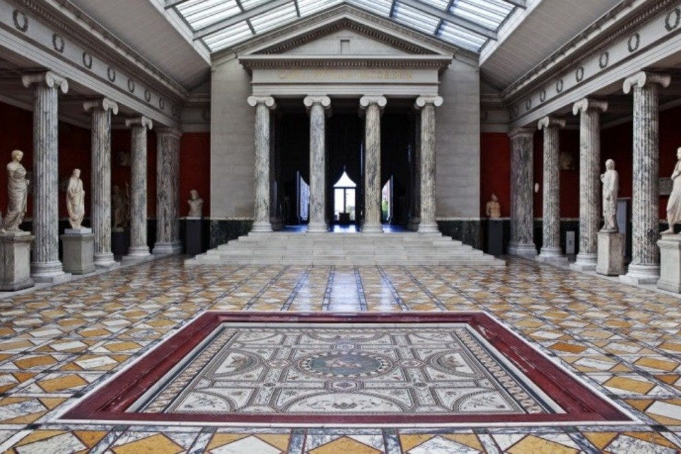 The impressive central hall of Copenhagen's Ny Carlsberg Glyptotek art museum