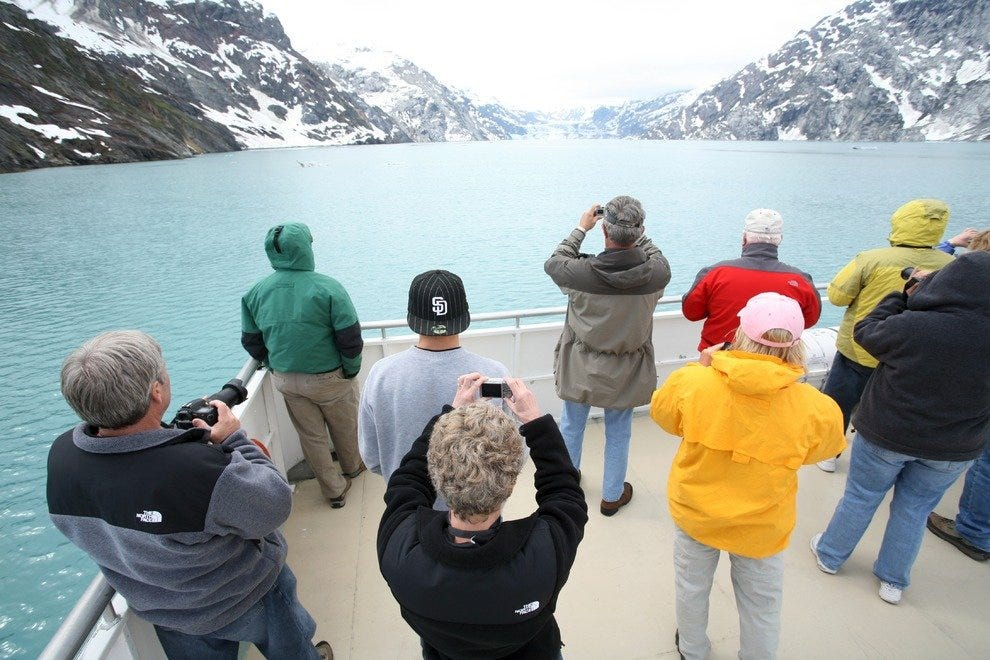 Tourists taking in the sights at Glacier Bay National Park