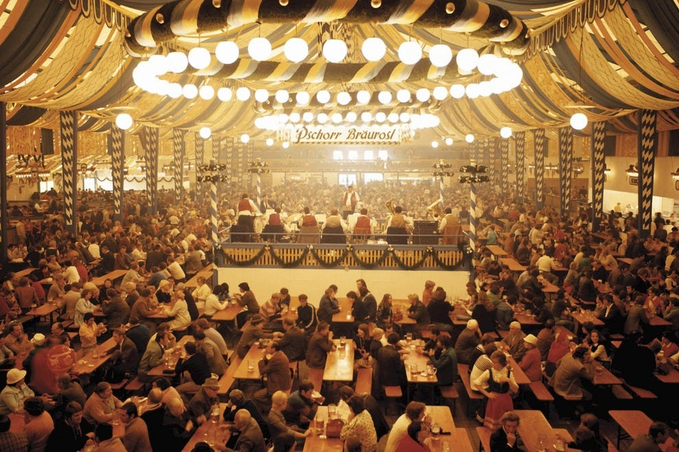 Crowded Oktoberfest hall in Munich