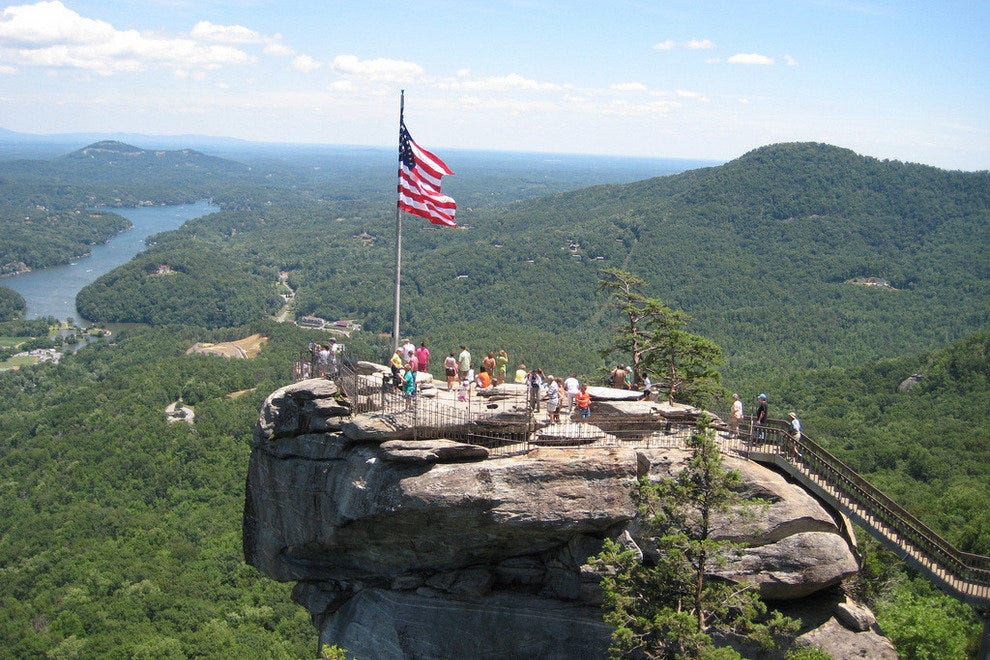 Visitors on Chimney Rock