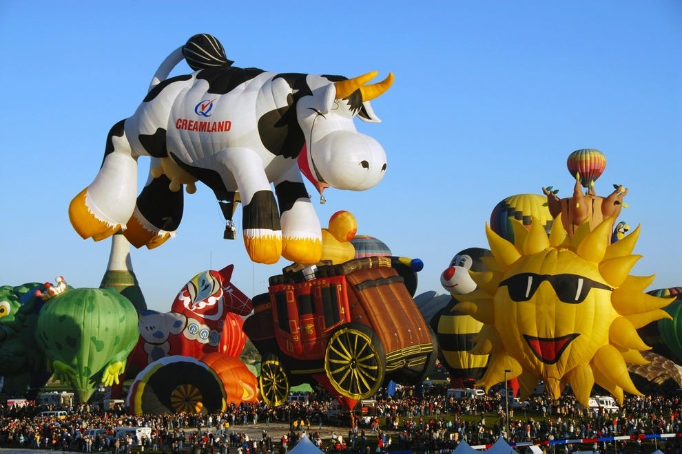 Airabelle, The Flying Cow takes off from the Special Shapes Rodeo