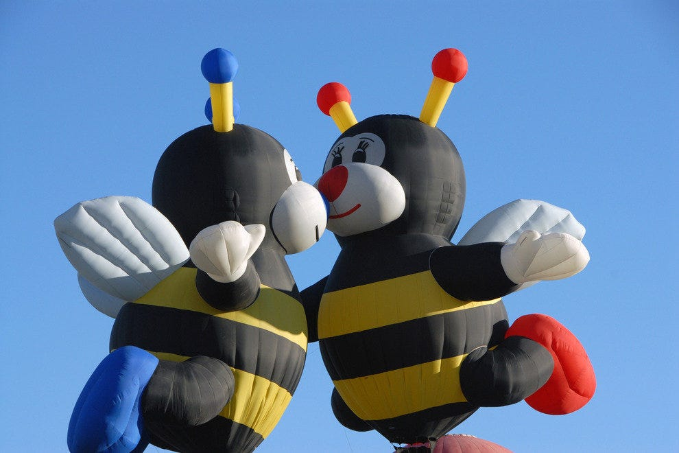 Two of the three Little Bee balloons