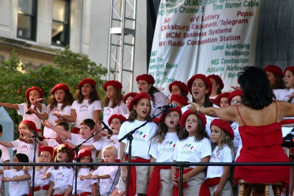 The Italian Children's Choir entertains at the Italian Heritage Festival in Clarksburg.