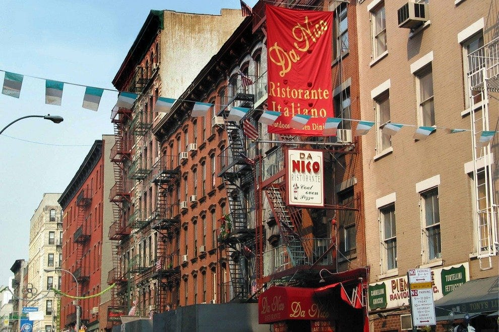 View on Mulberry Street, in the heart of New York's Little Italy neighborhood