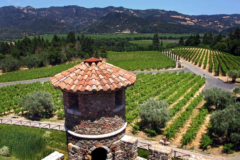 Lush historic vineyards surround the Castello di Amorosa.