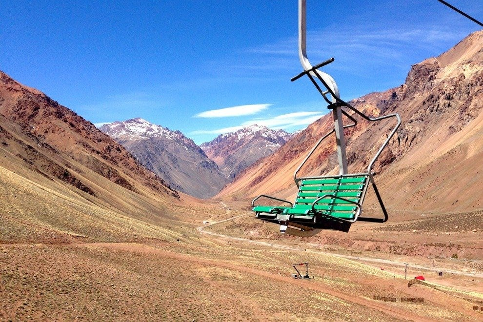 In summer, you can take a chair lift to the top of an Andes peak for stunning views.
