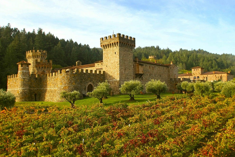 This spectacular view of the Castello di Amorosa awaits visitors upon their approach.