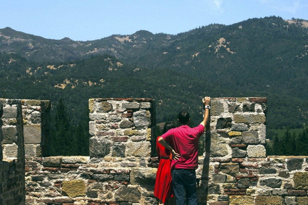 It's easy to find romance as you gaze on the Napa Valley hills from the ramparts of the Castello.