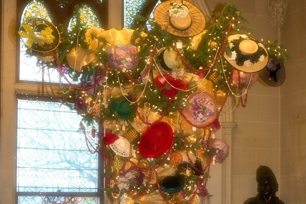 Upside down Christmas tree made from Lady Anna's hats
