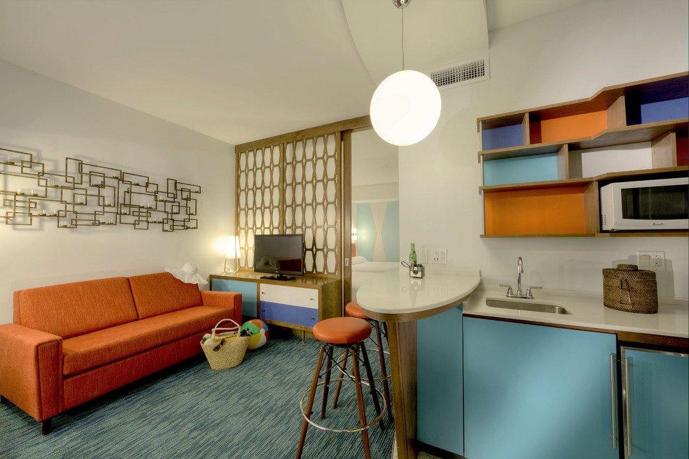 套房宽敞明亮,但是滑动分区允许隐私
