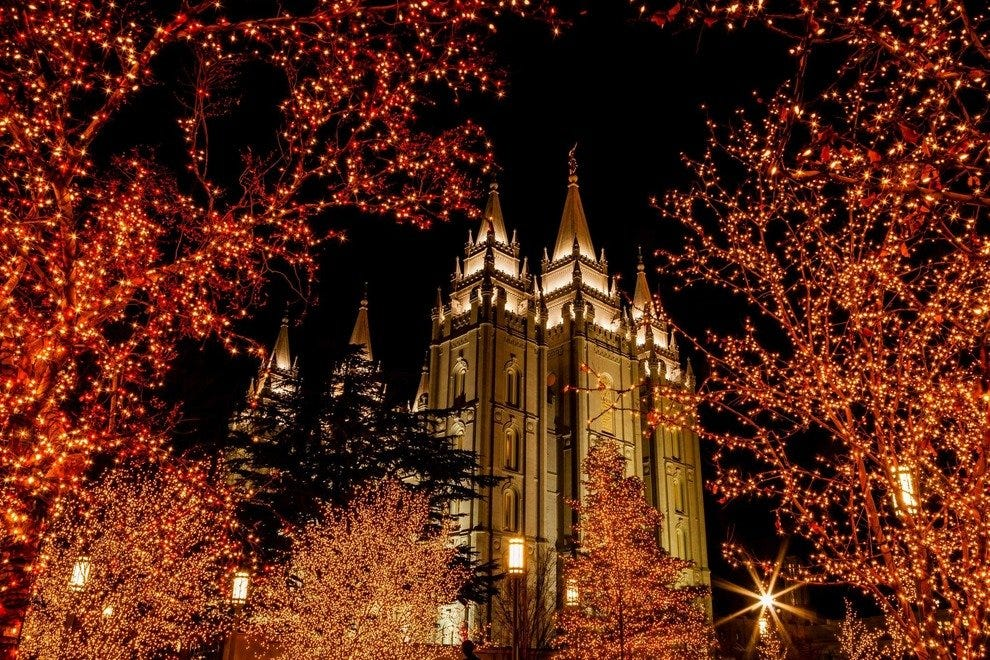 Temple Square decorated with holiday lights