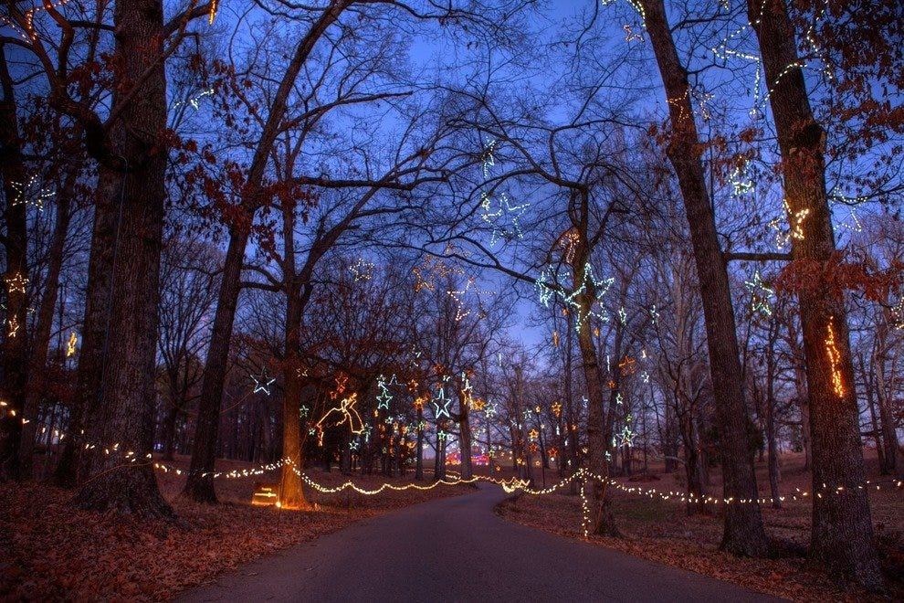 A clear evening in Shelby Farms for the Starry Nights drive-thru light display.