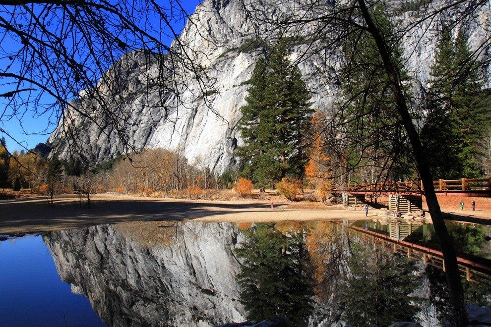Reflection in pool at Swinging Bridge, Yosemite Valley