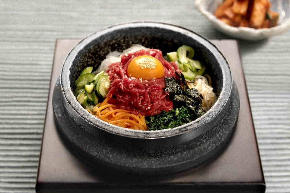 Raw beef bibimbap at London restaurant Kimchee