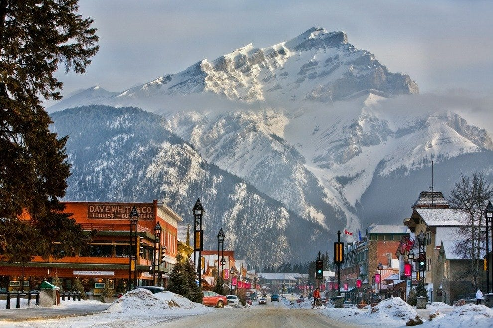 Town of Banff in winter