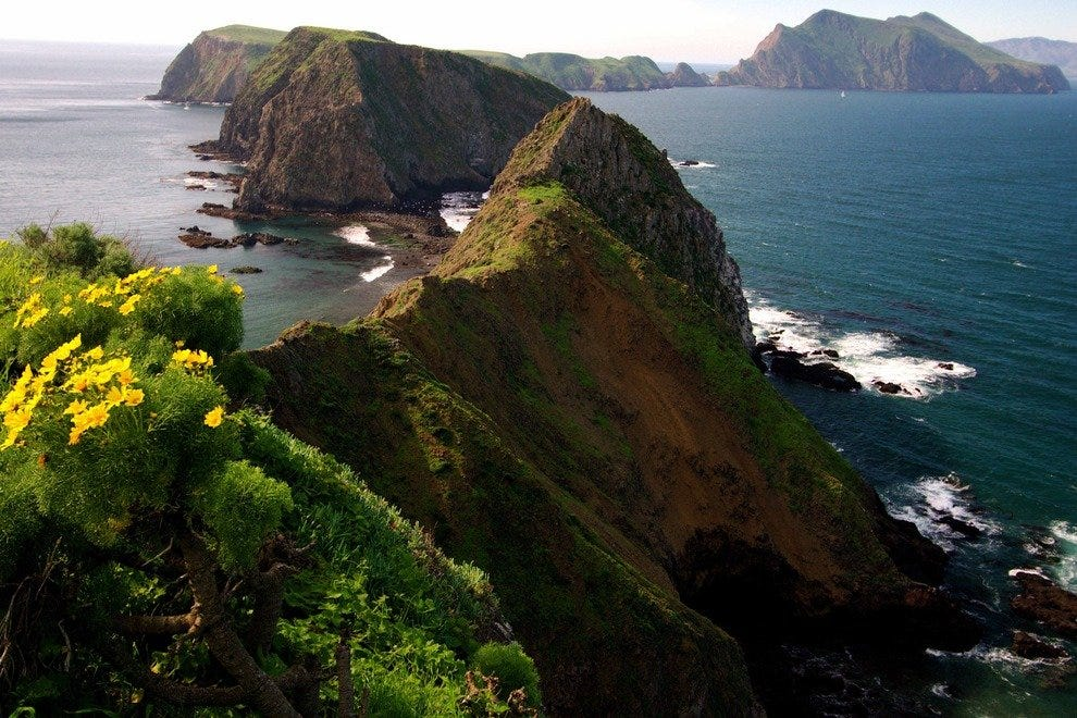 View on Anacapa and Santa Cruz islands, Channel Islands National Park and Marine Sanctuary.