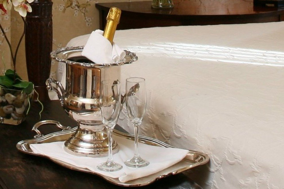 The Gastonian's elopement package includes wedding night turn-down service with champagne