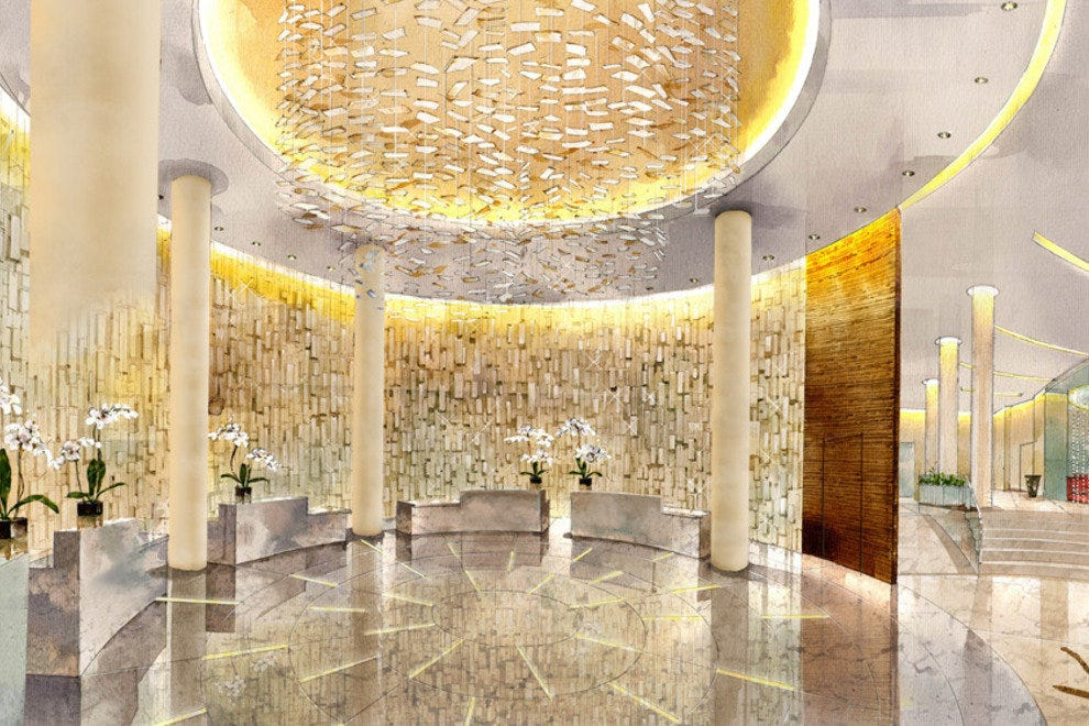 The hotel's reception area provides a glitzy welcome to guests