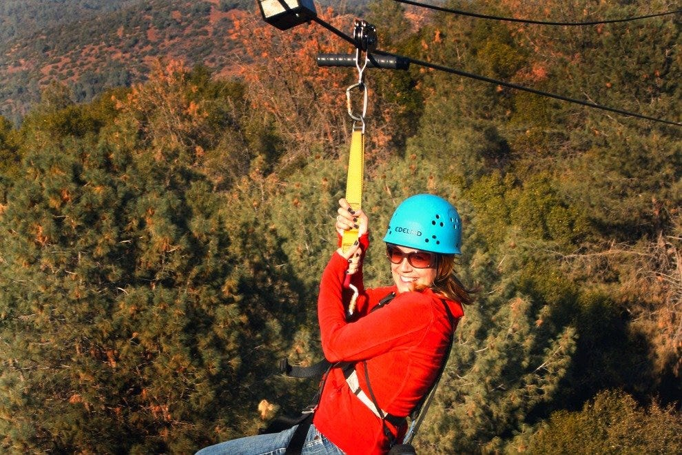 Soar over the Sierra foothills on a Mariposa zipline.