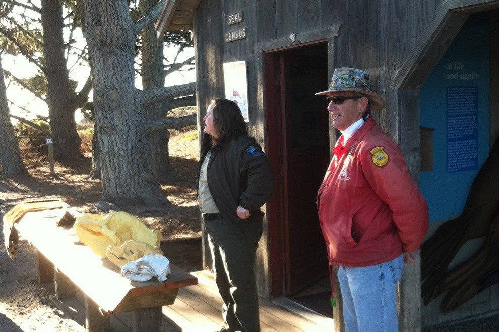 Docent and Ranger  giving a thorough orientation at the beginning of the Elephant Seal tour.