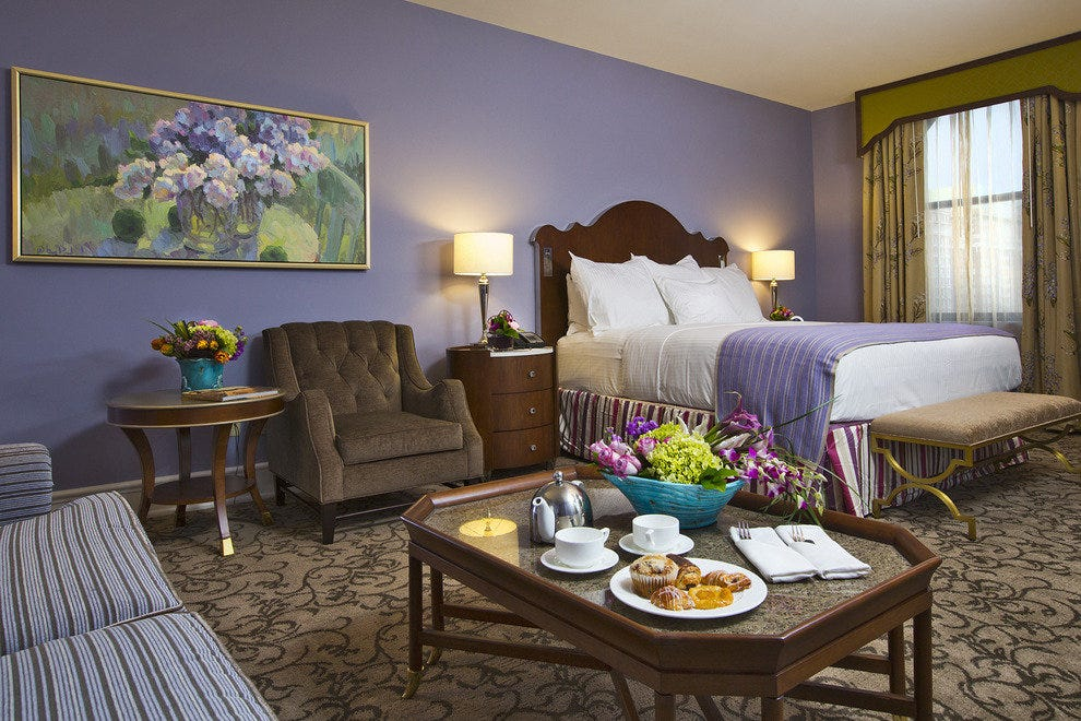 Lavendar Walls And Custom Rugs Furniture Are Just A Part Of The Makeover For Peabody S Guestrooms Photo Courtesy Hotel Pr