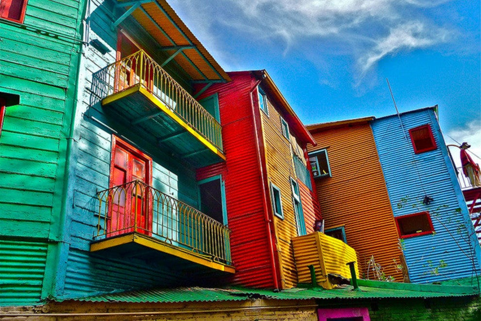 The colorful buildings in La Boca
