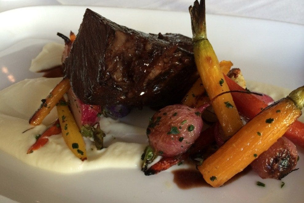 Braised short rib with roasted root vegetables and red wine jus