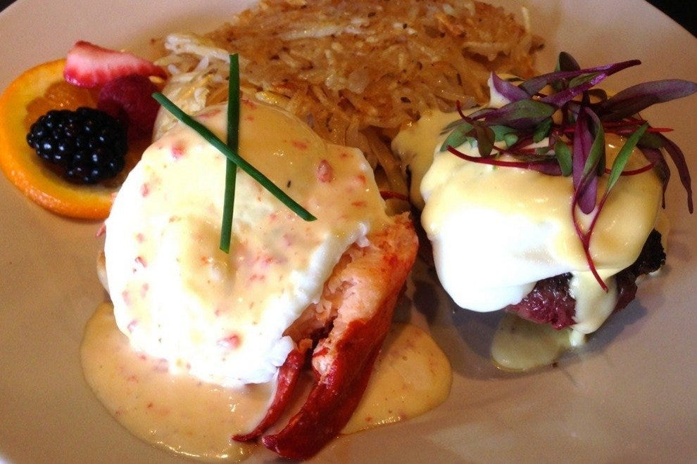 Restaurant specials include the Surf and Turf Eggs Benedict