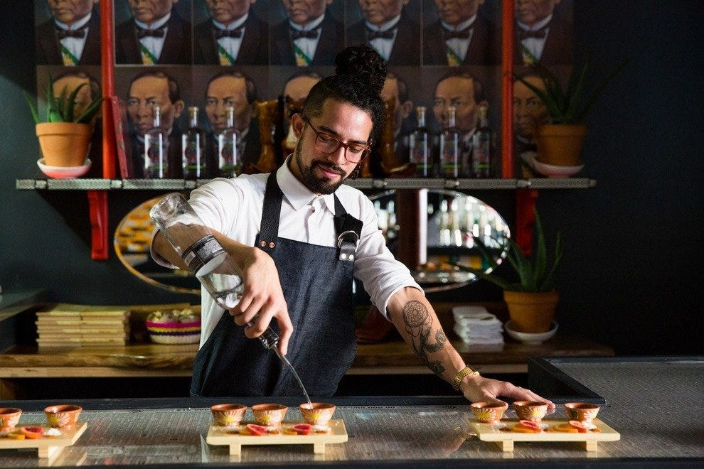 David Gallardo makes your perfect drink at the Agave Bar.