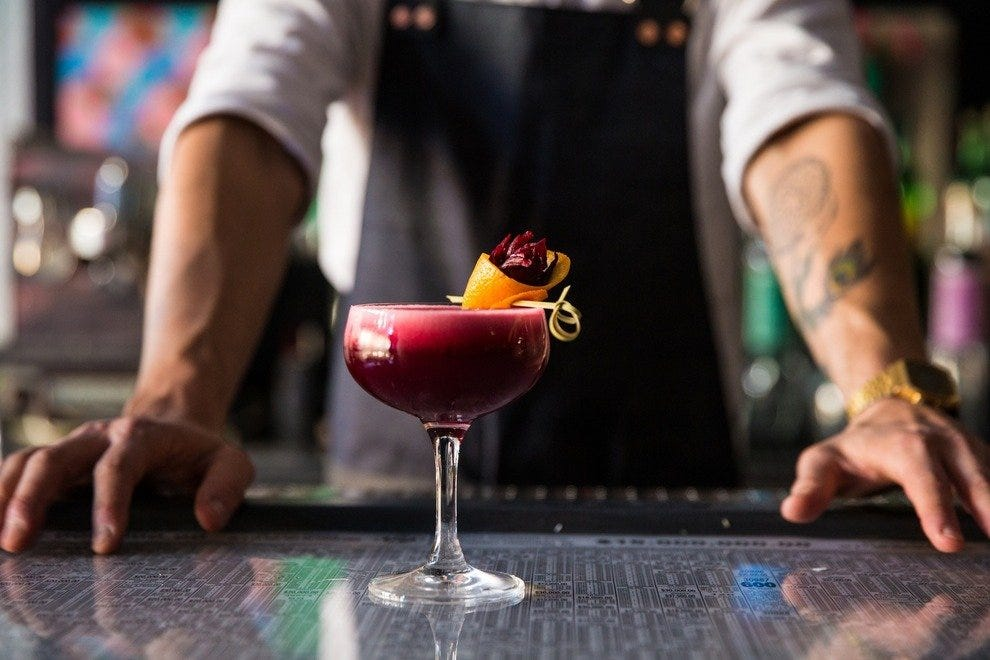 "The ""Hamaicon"" of Agave Bar: mezcal, hibiscus tea, St. Germain and balsamic vinegar"