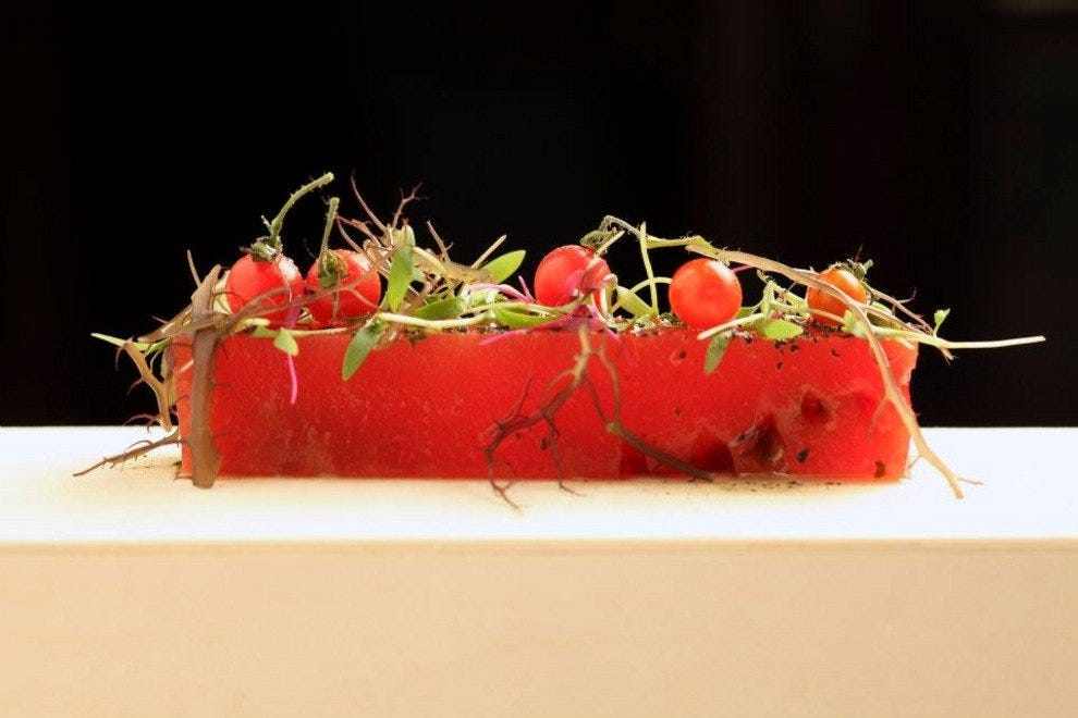 Watermelon, cilantro and guayaba salad by Edgar Nunez