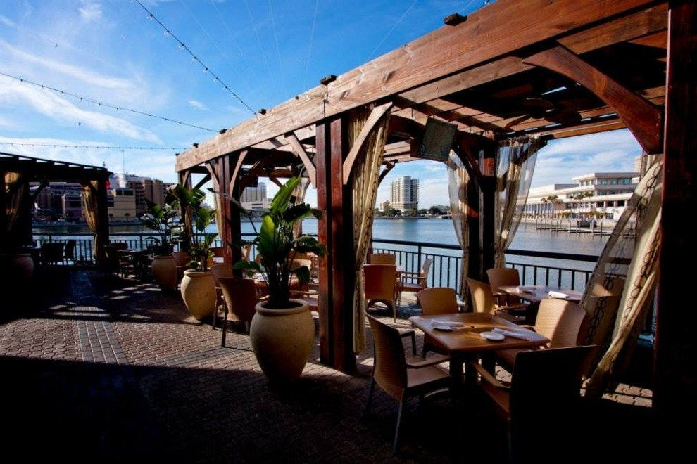 The beautiful outdoor patio at Jackson's Bistro offers spectacular downtown views.
