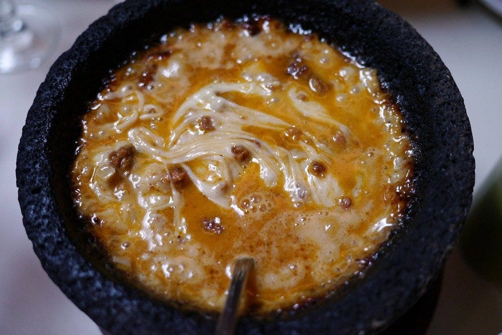 The queso fundido with chorizo is to die for.