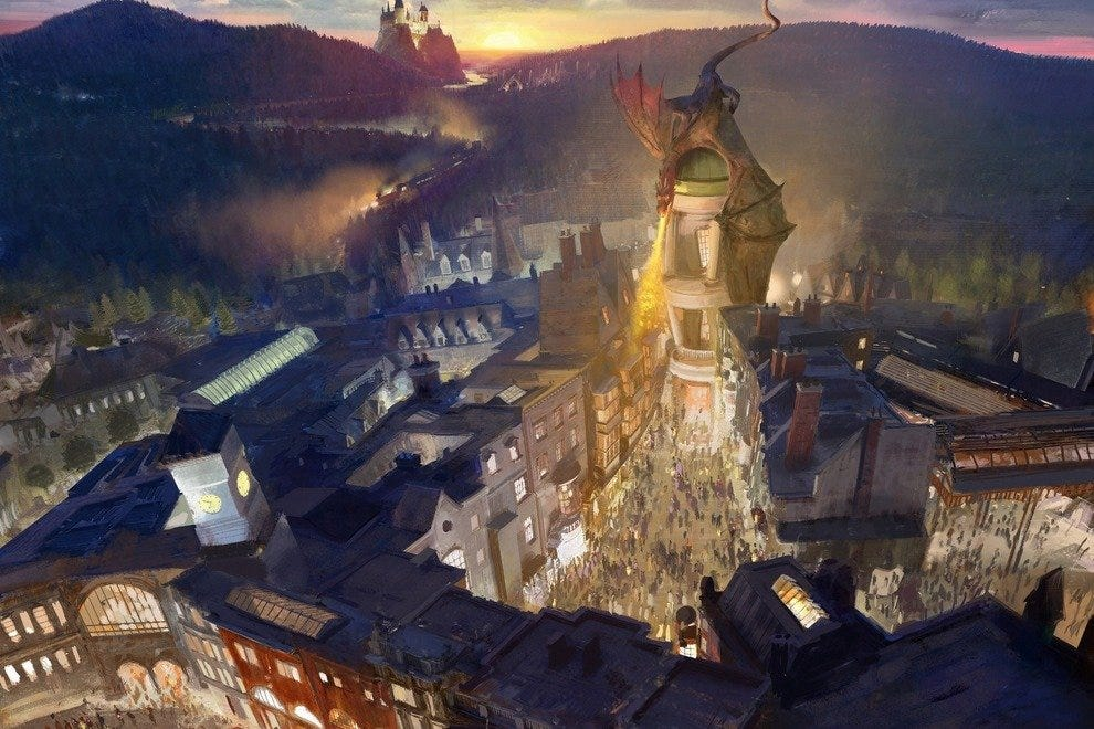 Diagon Alley, featured here in a rendering, will be located inside Universal Studios Florida and include a ride based on Gringott's Bank.