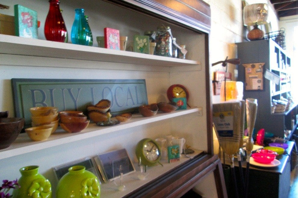 Locally crafted treasures are on display up front