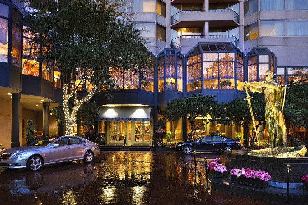 The splashy entrance to the luxury Windsor Court Hotel in New Orleans