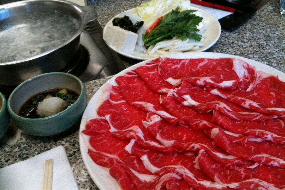 A platter of beef for shabu shabu