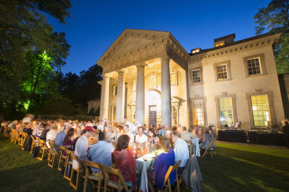 Gastronomes take over the lawn at the Atlanta History Center during the 2013 About South dinner.