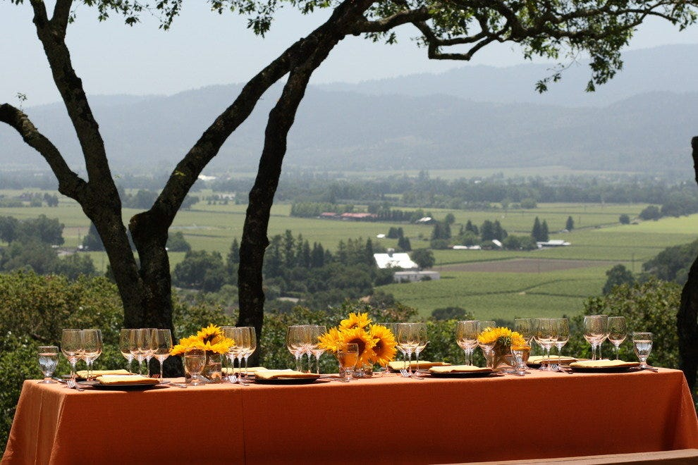 Enjoy a wine picnic with a lovely view of Napa Valley and a bottle of Rutherford Hill wine.