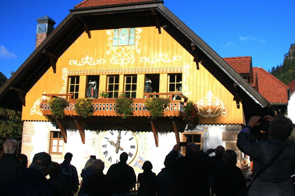 A drive through Germany's High Black Forest led to a large cuckoo clock with waltzing figures.